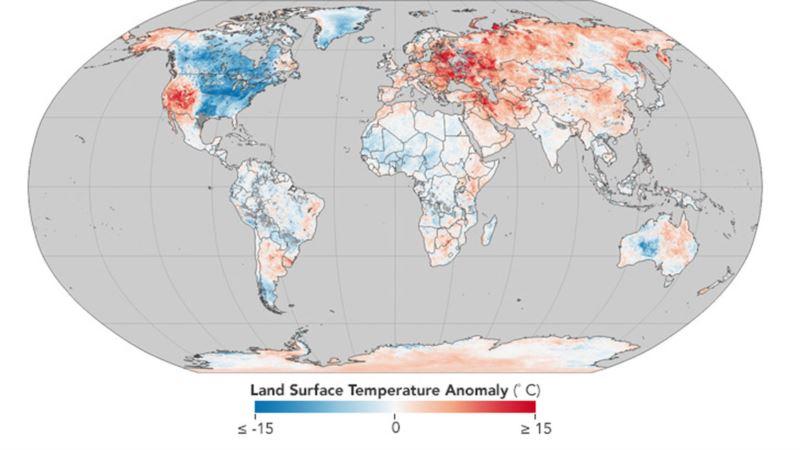 Украина попала в зону аномально высокой температуры на карте NASA