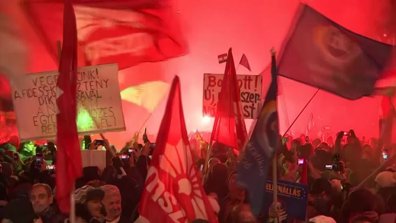 «Мы не рабы». Массовые протесты в Венгрии (видео)