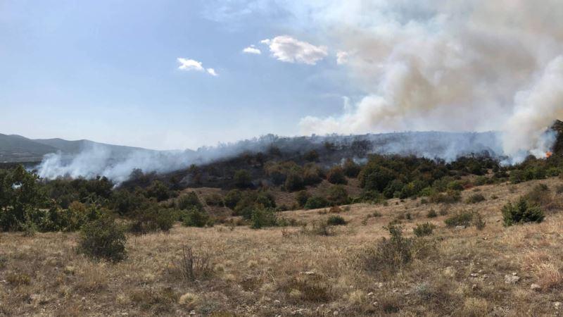 Лесной пожар под Симферополем: горит уже больше 12 гектаров – спасатели