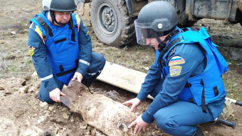 В Сакском районе Крыма взорвали стокилограммовую фугасную авиабомбу