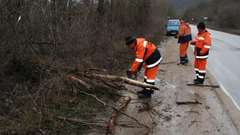 Ураганный ветер завалил крымские дороги деревьями (+фото)